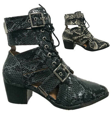 Womens Ladies Cut Out Snake Skin Lace Up Buckle Ankle Boots Size 3-8