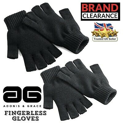 Fingerless Gloves Winter Knitted Quality Black Grey Mens Ladies A & G