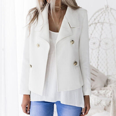 Women Long Sleeve Double-Breasted Coat Office Slim Short Jacket Blazer Coat Z
