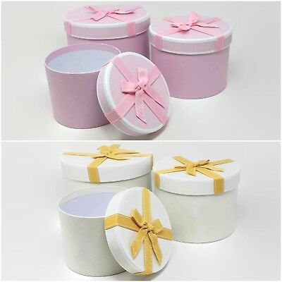 Round Stephy Lined Florist Hat Boxes with Bow Set of 3 - Cream , Pink or Grey