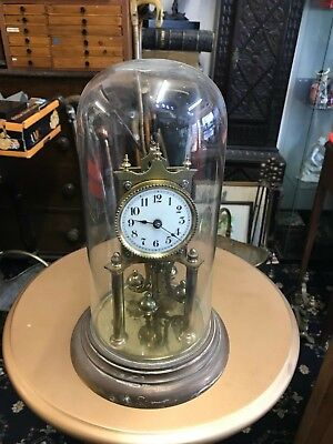 Vintage GLASS DOME CLOCK  NOT WORKING COMPLETE CLOCK WITH KEY