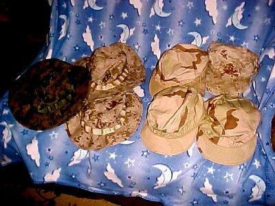 Lot Of 7 Usmc Desert Storm Worn And Used Headwear Boonie & More Color Camo