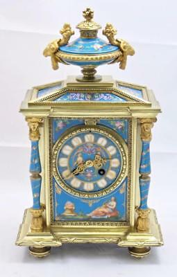 Antique French Mantle Clock Incredible Bronze & Blue Sevres 1880's Striking 8Day