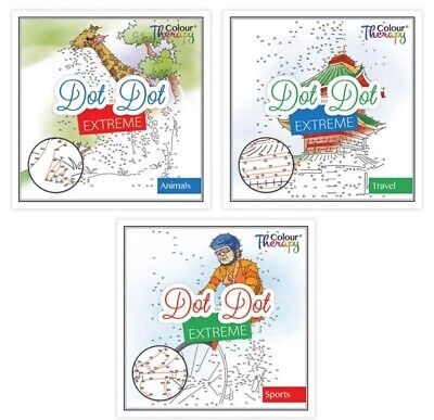 3 x 30 Page Colour Therapy Adult Extreme Dot To Dot Relaxation Doodle Book