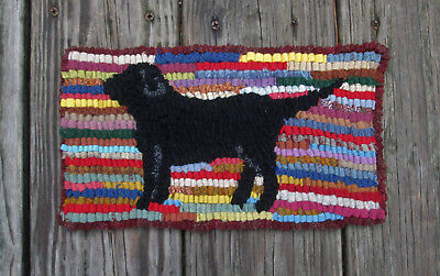 Black Dog Primitive  Rug Hooking KIT WITH #8 CUT WOOL STRIPS