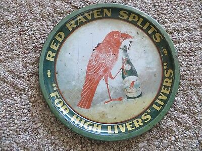 RED RAVEN SPLITS,FOR HIGH LIVERS' LIVERS' advertising 1900's litho pre pro tray
