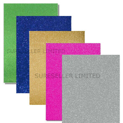 8 x A4 Glitter Card Paper 5 Colours Sheets Cardmaking Arts Crafts School