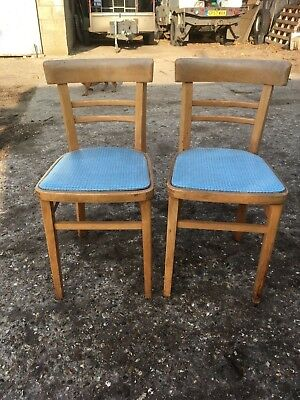 Vintage Solid Wooden Kitchen Dining Chairs Blue Vinyl Seats x 2