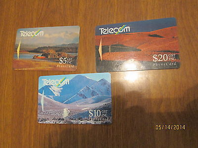 Lot Phone Card 3 Cards Differenttelecom New Zealand Limited Collection Rare ???