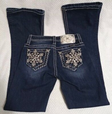 MISS ME GIRLS Jeans Size 8 Dark Wash Snowflake Pocket Bling Boot Cut YOUTH