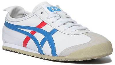Onitsuka Tiger Mexico 66 Womens Soft Leather Trainers In White Blue Size UK 3 -