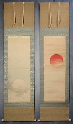 #1158 Japanese Twin Hanging Scrolls: The Sun and the Moon