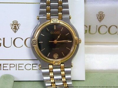 Gucci Vintage Multi Tone Wrist 9000M Swiss Watch Running w Box Papers