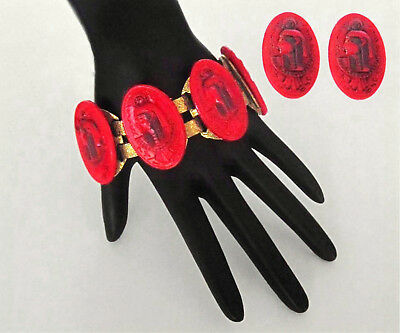Vin Czech Bohemian Egyptian Revival Red Molded Glass Pharaoh Bracelet & Earrings