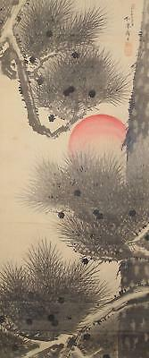 #1165 Japanese Hanging Scroll: Pine Tree and Rising Sun