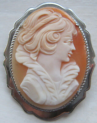 Antique Vintage Large Sterling Silver Carved Shell Cameo Brooch Hallmarked