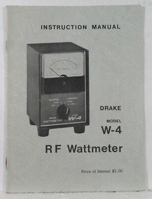 RL Drake W-4 Original Instruction Manual in Excellent Condition