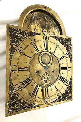 Antique LONGCASE GRANDFATHER CLOCK ROLLING MOON Brass Dial John Smith Chester