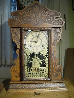 Antique Rare1889 E.n. Welch Carved Oak Eight Day Shelf Parlor Clock Working