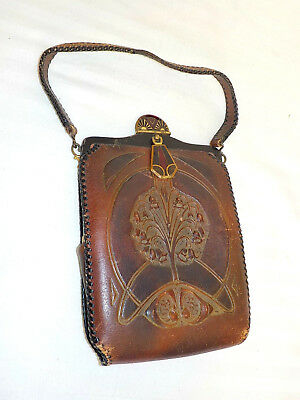 Vintage Antique Deco Justin Leather Goods Co. Small Purse With Locking Latch