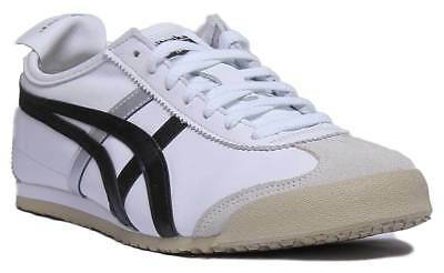 Onitsuka Tiger Mexico 66 Womens Leather Trainers In White Black Size UK 3 - 8