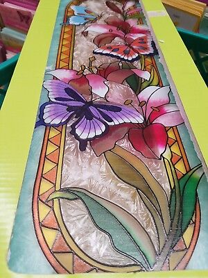 BEAUTIFUL COLORFUL Vintage STAINED LEADED GLASS Hanging BUTTERFLY Wall Plaque!