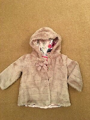 Ted Baker Baby Girls Coat Age 12-18 Months  Faux Fur Owls Birds Print Lining