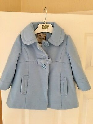 Next Baby Girls Spanish Coat Age 6-9 Months Lovely On Lined Baby Blue Wool Mix