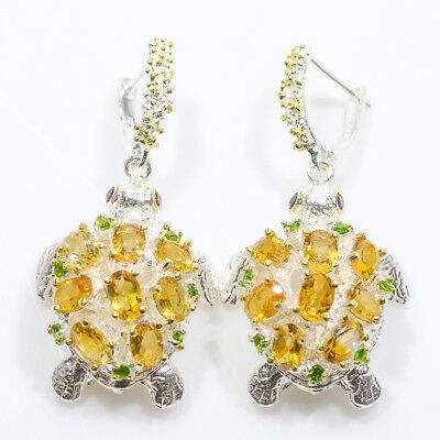 Jewelry unique SET Natural Citrine 925 Sterling Silver Earrings/E00975