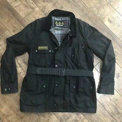 Men's Barbour International Trials Black Wax Biker Jacket Medium Ex Cond