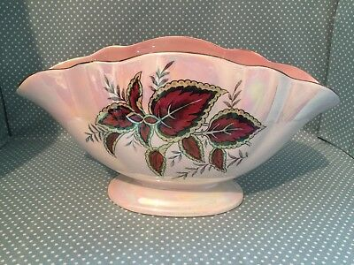 Vintage Maling pink lustre ware Coleus pattern jardiniere/posy vase from 1930's.