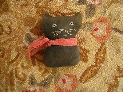 Primitive Early Style Rag Stuffed Black Cat~ Simple Cupboard Tuck ~hand done