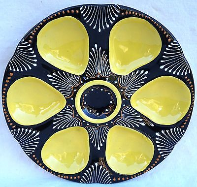 HB QUIMPER Vintage French Faience Embroidery Oyster Plate 1950