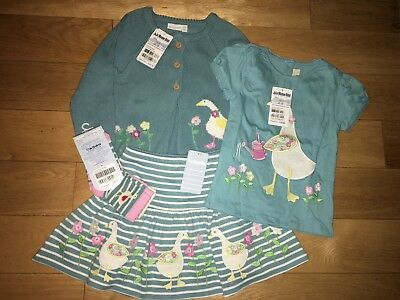BNWT JoJo Maman Bebe Duck Egg Blue Matching Cardigan T Shirt Skort & Socks 3-4-5