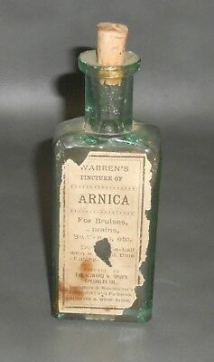 c1890 Antique Bottle Warren's Tincture of Arnica For Bruises w label & tax stamp