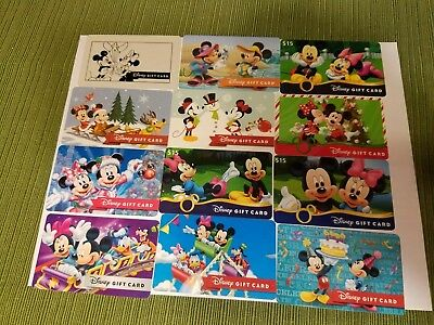 "Disney Collectible  Gift Cards ""NO VALUE"" Lot of 12 Mickey & Minnie Mouse"