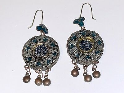 Antique Chinese Dangle Earrings, Ornaments, Very Long