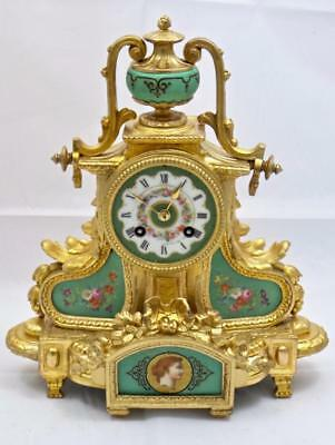 Antique French Mantle Clock C1880 Gilt Ormolu & Aqua Sevres Porcelain Striking