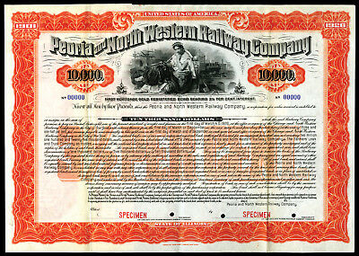 IL. Peoria and North Western Railway Co 1901, $10,000 Specimen Gold Coupon Bond