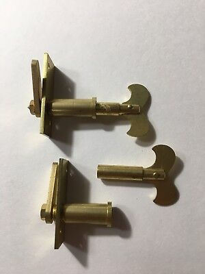 2 Vintage Solid Brass Clock Cabinet Door Locks And Keys New Old Stock