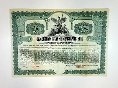 PA. Jamestown, Franklin and Clearfield Railroad Co 1900-1920 Specimen $1000 Bond