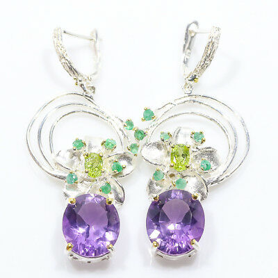 Unique jewelry SET Natural Amethyst 925 Sterling Silver Earrings/E00998
