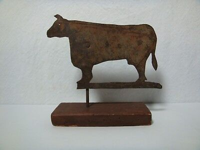 Primitive Rusty Tin Holstein Cow Sculpture Rustic Pine Wood Base Vintage Country