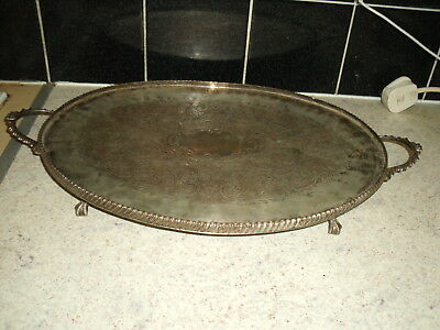 Vintage silver plated gallery tray with handles and claw and ball feet