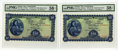 Ireland, Central Bank of Ireland, 1957 Sequential Banknote Pair, 10 Pounds P-59d