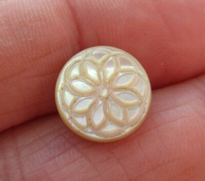Stunning Antique~ Vtg Victorian Carved MOP Shell BUTTON Flower Brass Shank (F)