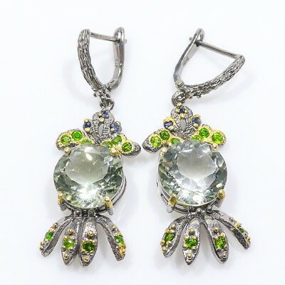 Unique jewelry Natural Green Amethyst 925 Sterling Silver Earrings/E01015