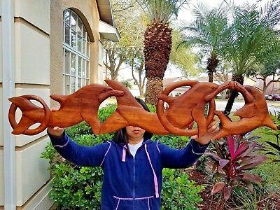 """GORGEOUS 38.5"""" x 8"""" HANDCARVED TEAK WOOD """"FAMILY OF DOLPHINS"""" WALL DECOR- RIGHT"""