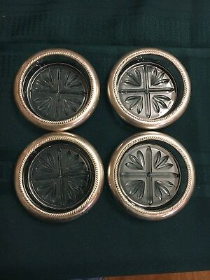 Set Of 4 Sterling Silver And Crystal Coasters