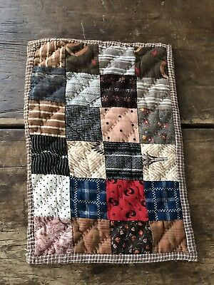 Early Antique Hand Sewn Brown Calico Homespun Doll Quilt Textile AAFA